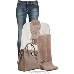 """""""Taupe and white"""" by bonnaroosky on Polyvore"""