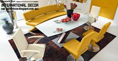 Contemporary dining room sets, ideas and furniture 2015, yellow leather chairs
