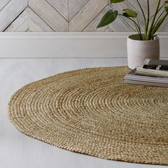 This chunky-textured round rug is made from plaited Indian jute, which boasts a naturally silvered colour. Ideal on hard floors and carpets. With a subtle pattern, it's just the thing to bring a fresh and rustic look to your home, and is the perf Jute Carpet, Berber Carpet, Diy Carpet, Rugs On Carpet, Wool Carpet, Stair Carpet, Basement Carpet, Nylon Carpet, Cheap Carpet