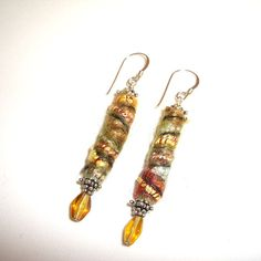 Gold Fiber Earrings Textile Earrings Artisan by AndreasJewelry, $20.00