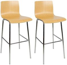 Pair of Lastra Chrome and Wood Kitchen Breakfast Bar Stool Fixed Height Oak Seat