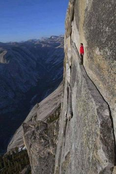 The 'Thank God Ledge' Yosemite National Park, California, USA.You need his help walking this ledge