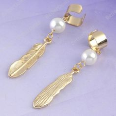 1PC Golden Faux Pearl Leaf Dangle Ear Cuff Cartilage Clip On Earring Fashion
