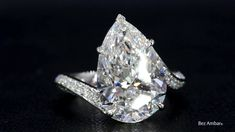 A Beautiful 5 Carat Pear Shape Diamond Engagement Ring from Bez Ambar