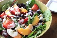peach-and-strawberry-salad with honey lime yogurt dressing