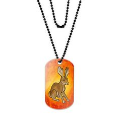 Jackalope Got Your Tongue Acrylic Dog Tag with Black Ball Chain
