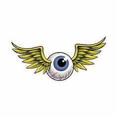 "flying eye tin sign | Large Flying Eyeball Shaped Metal Sign 28x14"" Perfect for Garage Shop ..."