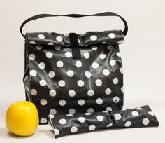 Reusable lunch bag. Lunch box. Lunch tote. Polka dots. Cutlery roll. Food bag…