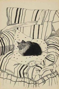 Lucian Freud, The Sleeping Cat, 1944