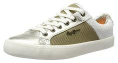 Pepe Jeans London Damen Clinton Mesh Gold Sneakers, Gold (Gold), 38 EU - Sneakers für frauen (*Partner-Link)