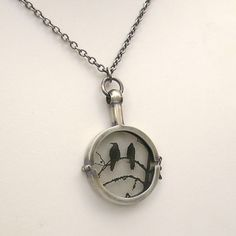 Raven Necklace  Sterling Silver Handmade Locket  by lsueszabo, $300.00