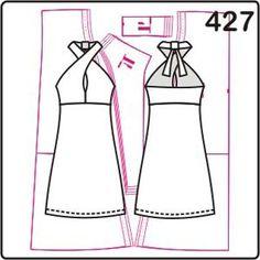 Новая модель построена для трикотажа, как и другие выкройки платьев серии. Платье с лифом с цельнокроеной бретелью, юбка может короткой и длинной.