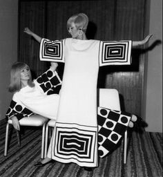 Op art fashions in pure silk jersey by Naka, modelled by Maureen Lynn and Sue Marshall 7th March 1966 The new range of Italian knitwear is on show at the Carlton Tower Hotel, organised by the Italian Institute for Foreign Trade - Photo Reg Speller