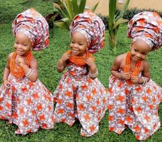 Portraits of Kamara Faani, daughter of Nollywood actor ChaCha Ekeh-Faani and husband producer Austin Faani, posing in her traditional ankara-print dress and matching gele on the occasion of her second birthday, Delta, Nigeria, 2016, photograph by ChaCha Ekeh-Faani.
