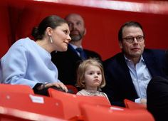 Crown Princess Victoria of Sweden, Prince Daniel and Princess Estelle attends the opening of the European Figure Skating Championships 2015 at Ericsson Globe Arena in Stockholm. 28 January 2015