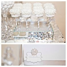 White and Silver Bling Candy bar by House of Creative Designs. Marshmallow pops with glitter flags and paper straws.