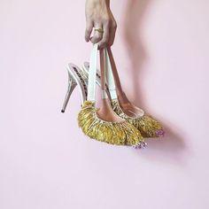 "Ashlee Sara Jones on Instagram: ""The perfect fringed heel @modaoperandi #modaoperandi #rochas #fringe #slingback #heels #headoverheels #highfashion #designer #fashion #style #glitz #glam #sparkle #love @ashleesarajones"""