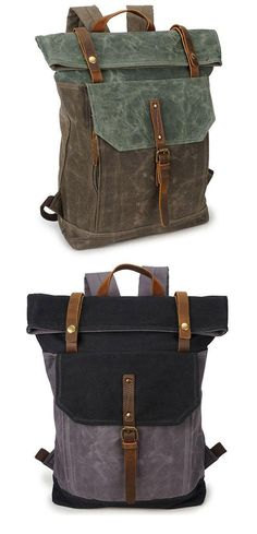 49f956e39951 Unique Man Retro Canvas Buckle Leather Waterproof Square Flap School Backpack  Large Travel Backpack