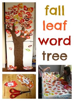 Love this fall leaf word tree - great idea for learning sight words :: classroom word display :: word wall A beautiful idea for fall leaf crafts: make an autumn word tree, to help learn spellings and sight words. September Activities, Autumn Activities For Kids, Learning Sight Words, Fun Learning, Language Activities, Literacy Activities, Letter Activities, Leaf Crafts, Fall Crafts