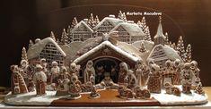gingerbread house nativity creche