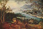 Pieter Bruegel: paysage fluvial avec la parabole du semeur, 1557, huile sur bois, 74+102 cm, signé. - Bruegel jouit en son temps d'une immense renommée, mais sa gloire s'estompa peu à peu et il fut presque oublié aux 18° et 19°s Cependant, par ses grands paysages et par ses derniers tableaux de genre, il devait être à l'origine d'un art entièrement nouveau, typiquement national, et influencer la peinture flamande pendant près d'un siècle.