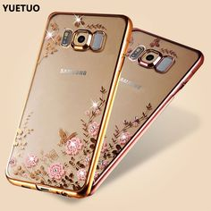 luxury original gold tpu coque cover case for samsung galaxy S8 s 8 g950 silicon silicone soft diamond rhinestone accessories