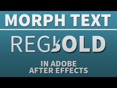Morph Text From Regular to Bold - Adobe After Effects tutorial - YouTube