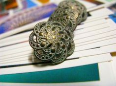 Paisley Flower Metal Buttons , Brass Patina Color , Openwork , Shank , 0.71 inch , 10 pcs on Etsy, $6.00
