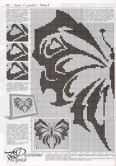 "Photo from album ""Дуплет on Yandex. Thread Crochet, Filet Crochet, Crochet Motif, Crochet Patterns, Butterfly Cross Stitch, Crochet Butterfly, Crochet Squares Afghan, Crochet Dollies, Blackwork Embroidery"