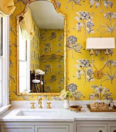 home accents bathroom Yellow wallpaper detail bathroom gold mirror and fixtures, interior design idea and inspiration Loft Interior, Salon Interior Design, Interior Design Wallpaper, Colorful Interior Design, Yellow Interior, Interior Design Portfolios, Interior Design Inspiration, Bathroom Wallpaper Trends, Bold Wallpaper