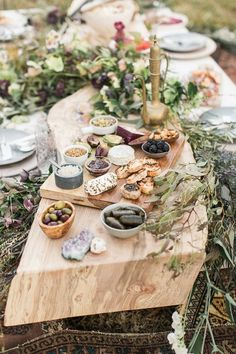 organic wedding food - photo by Lauren Fair Photography http://ruffledblog.com/bohemian-wildflower-wedding-inspiration