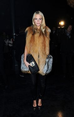 Poppy Delevigne in Black Leather Pants + Fur Great Street Style