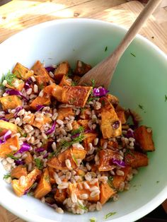 roasted sweet potato and farro salad with lemon and dill ~vegan~