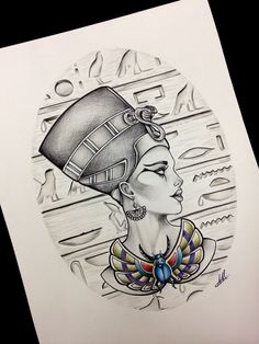 Queen Nefertiti Tattoo Design Inspiration effective something Tattoo Sketches, Tattoo Drawings, Art Drawings, Cat Tattoo, Kunst Tattoos, Body Art Tattoos, Nefertiti Tattoo, Cleopatra Tattoo, History Tattoos