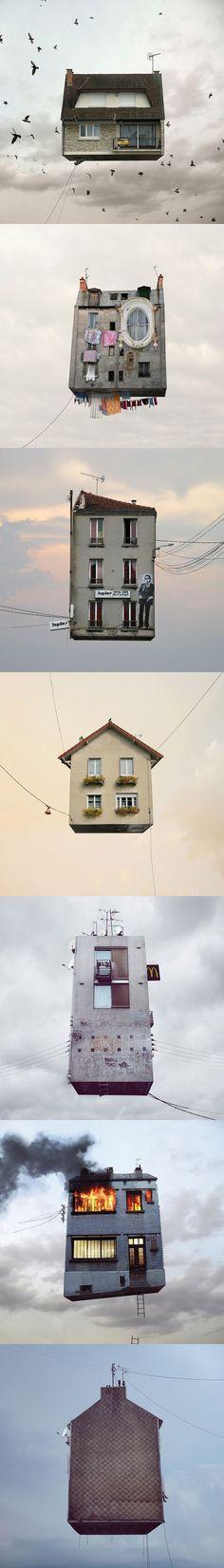 Une très belle série de photomanipulations de Laurent Chechere : «Flying Houses»