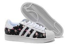 Femmes Adidas Superstar II Noir Blanc Fleur ColoréE