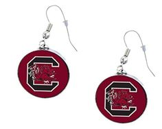 University of South Carolina Gamecocks French Hook Dangle Earrings with NCAA College Sports Team Logo