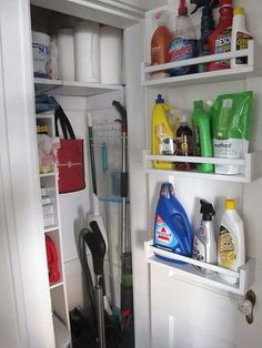 Creative Ways to Use IKEA's Spice Rack Outside of the Kitchen Hang IKEA spice racks on the back of the closet door to store bulky cleaning supplies.Hang IKEA spice racks on the back of the closet door to store bulky cleaning supplies. Closet Organization, Kitchen Organization, Organization Ideas, Storage Ideas, Ikea Storage, Shelf Ideas, Organizing Tips, Kitchen Storage Hacks, Shoe Organizer