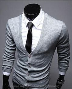 Mens Cool Casual V-Neck Long Sleeve Solid Cardigan Sweater