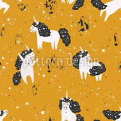 Stellar Unicorn Vector Ornament by Lidiebug at patterndesigns.com Cute Pattern, Pattern Design, Vector Pattern, Mythical Creatures, Cosmic, Fairytale, Unicorn, Ornaments, Patterns