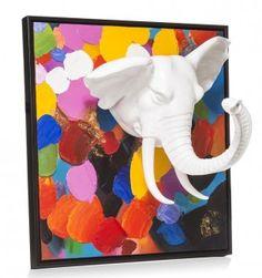 Dit zeer bijzondere 3D wandobject/ schilderij is een echte eye catcher! Het is een vrolijk met dikke klodders verf beschilderd doek met daarop in wit kunststof een 3D element; het hoofd van een olifant!  Afmeting: 90x90cm