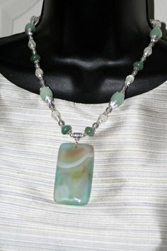 Moonlight Glen Agate Milk Glass Moonglow Necklace Shipping Melting | shadesongs - Jewelry on ArtFire