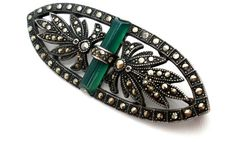 Antique Chrysoprase Marcasite Brooch Art by TheJewelryLadysStore, $70.00