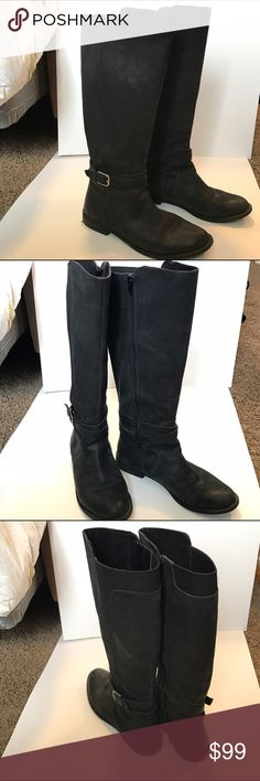 Lucky 🍀 Brand knee high leather boots I love these lucky brand leather soft black boots. Only worn a few times so they are still in perfect condition! I love the strap and buckle detail on the ankle. This is perfect for any dress or skinnies! Size 9.5. Paid $140. Lucky Brand Shoes Over the Knee Boots