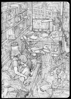 Perspective Drawing Lessons, Perspective Art, Comic Books Art, Comic Art, Book Art, Art And Illustration, Architecture Concept Drawings, Environment Concept Art, Manga Art