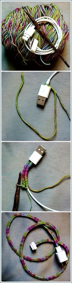 Para proteger el cable, buenísimo!!!! ... ... ... Through the Loops!: crochet charger cord