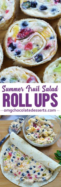 Cheesecake Fruit Salad Roll Ups - Fresh fruits and cheesecake filling rolled in tortillas and cinnamon-sugar are new and fun way to enjoy refreshing summer fruit salad. #cheesecake #fruit #salad #rollups