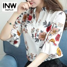 Blusas Femininas 2018 New Fashion Chiffon Blouse Women Printed Blouses Floral Print Shirts Summer Ladies Tops Big Size Floral Print Shirt, Floral Blouse, Printed Blouse, New Fashion, Korean Fashion, Womens Fashion, Floral Tops, Blouses For Women, Casual
