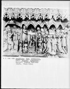 Tympanonrelief, Wanderwerkstätte aus Schwäbisch-Gmünd?, 1377, Augsburg, Dom Sankt Marien — Foto Marburg,  Aufnahme-Nr. 1.196.146;; (9x12);  Fotoinhalt: Jugend Mariens [Art of Mary]