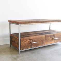 Media Console made from Reclaimed Wood / Industrial TV Stand / Modern Media Cabinet Reclaimed Wood Media Console, Reclaimed Barn Wood, Floating Media Shelf, Building Process, Modern Media Cabinets, Industrial Tv Stand, Industrial Furniture, Wood Storage, Etsy